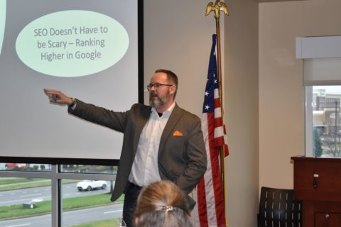 Dean Heasley from Nashville Marketing Systems speaking to a group of people
